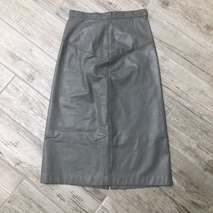 Vintage 80s Steel Gray Leather Pencil Skirt